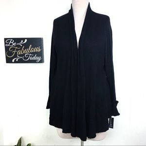 NWT INC 3X Black Cardigan Sweater Open Front
